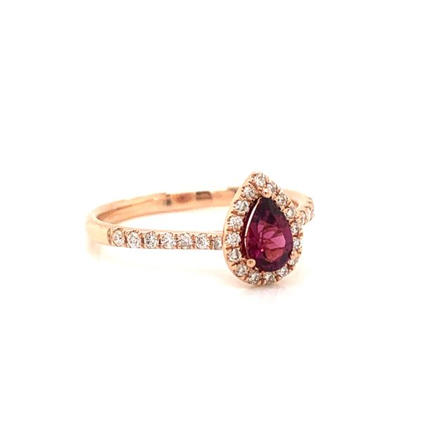 Pear Shape Garnet Halo Ring Image 2 Armentor Jewelers New Iberia, LA