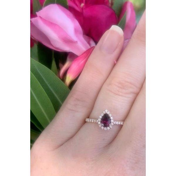 Pear Shape Garnet Halo Ring Image 4 Armentor Jewelers New Iberia, LA