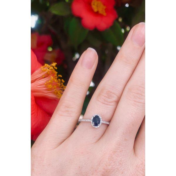 Oval Halo Sapphire Ring Image 3 Armentor Jewelers New Iberia, LA