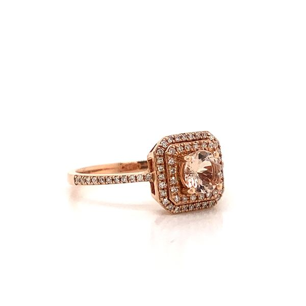 Double Halo Morganite Ring Image 2 Armentor Jewelers New Iberia, LA