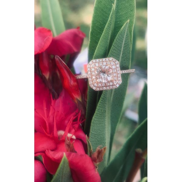 Double Halo Morganite Ring Image 3 Armentor Jewelers New Iberia, LA