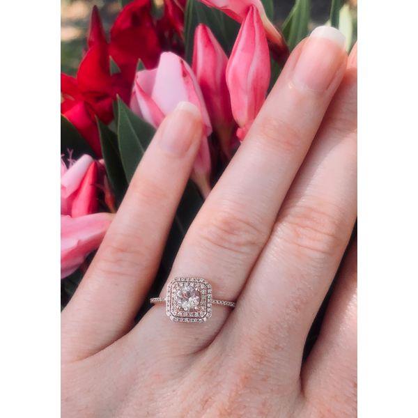 Double Halo Morganite Ring Image 4 Armentor Jewelers New Iberia, LA