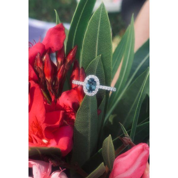 Oval London Blue Topaz Halo Ring Armentor Jewelers New Iberia, LA
