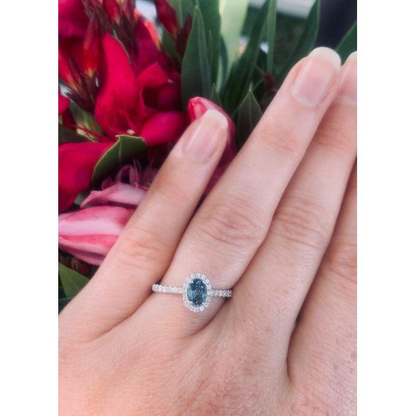 Oval London Blue Topaz Halo Ring Image 2 Armentor Jewelers New Iberia, LA