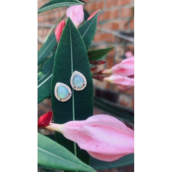 Pear Shape Ethiopian Opal Halo Earrings  Armentor Jewelers New Iberia, LA