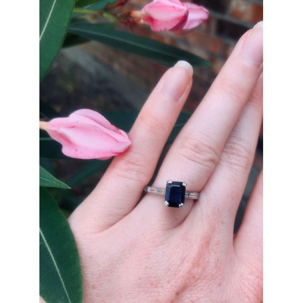 Emerald Cut Sapphire Ring  Image 2 Armentor Jewelers New Iberia, LA