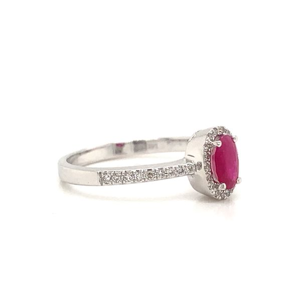 Oval Ruby Halo Ring Image 2 Armentor Jewelers New Iberia, LA