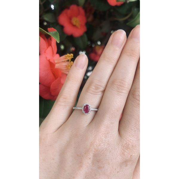 Oval Ruby Halo Ring Image 4 Armentor Jewelers New Iberia, LA