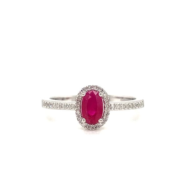 Oval Ruby Halo Ring Armentor Jewelers New Iberia, LA
