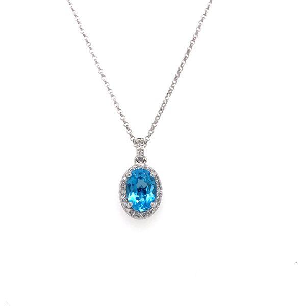 Oval Blue Topaz Halo Necklace Armentor Jewelers New Iberia, LA