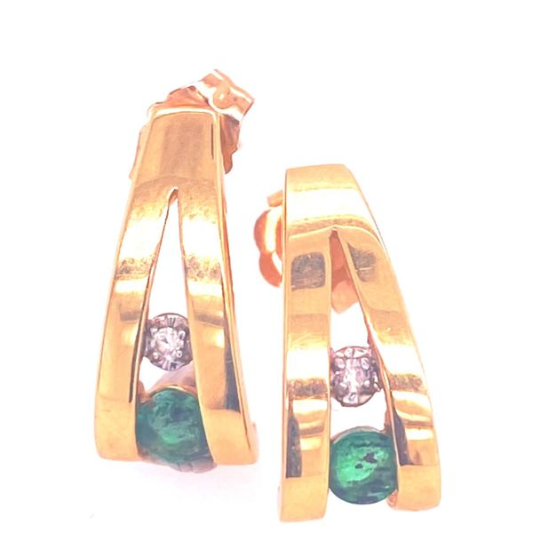 Emerald and Diamond Post Earrings Arthur's Jewelry Bedford, VA