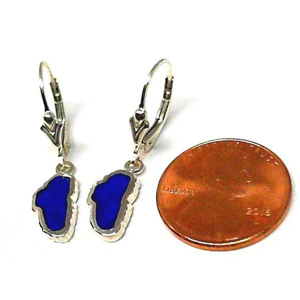 Small 14kt White Gold Lapis Lake Tahoe Lever Back Earrings Image 2 Bluestone Jewelry Tahoe City, CA