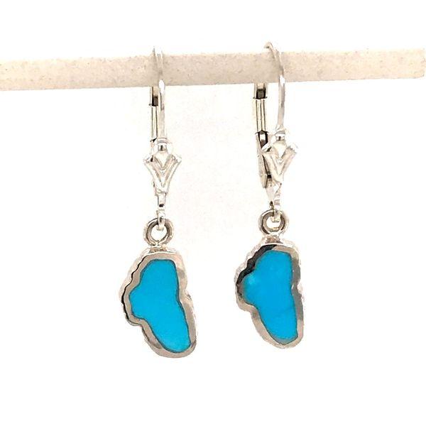 Small 14kt White Gold Turquoise Lake Tahoe Lever Back Earrings Bluestone Jewelry Tahoe City, CA