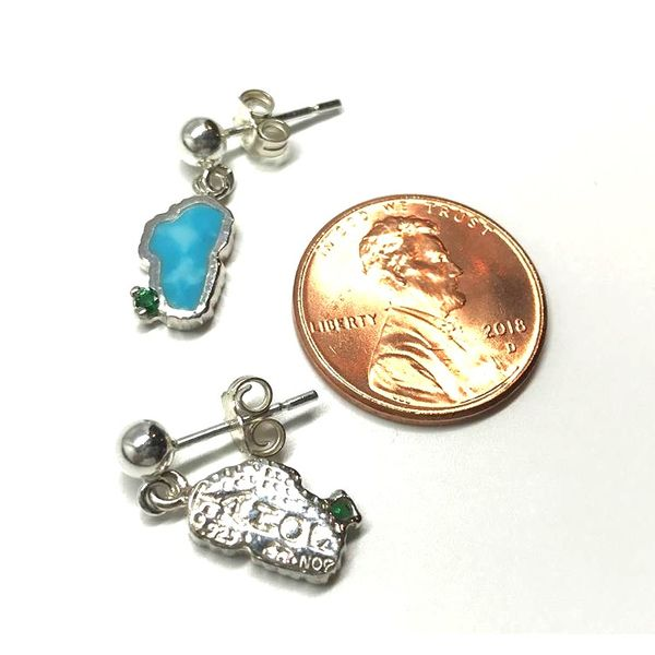 Small 14kt White Gold Turquoise Lake Tahoe Post Drop Earrings with Emeralds Image 2 Bluestone Jewelry Tahoe City, CA