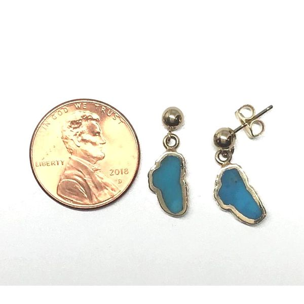 Small 14kt Yellow Gold Turquoise Lake Tahoe Post Drop Earrings Image 3 Bluestone Jewelry Tahoe City, CA