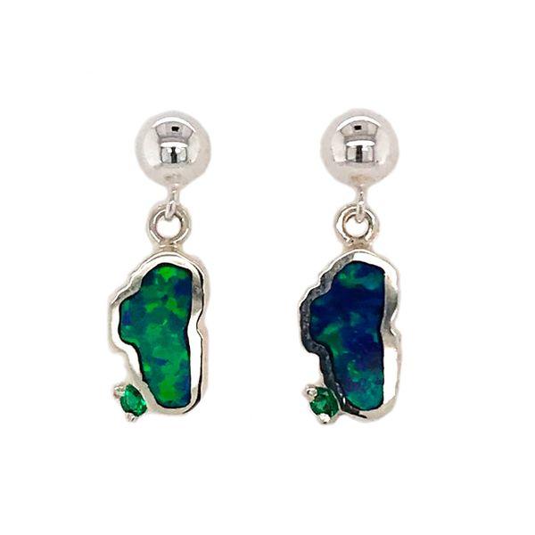 Small Silver Opal Lake Tahoe Post Drop Earrings with Emerald Bluestone Jewelry Tahoe City, CA