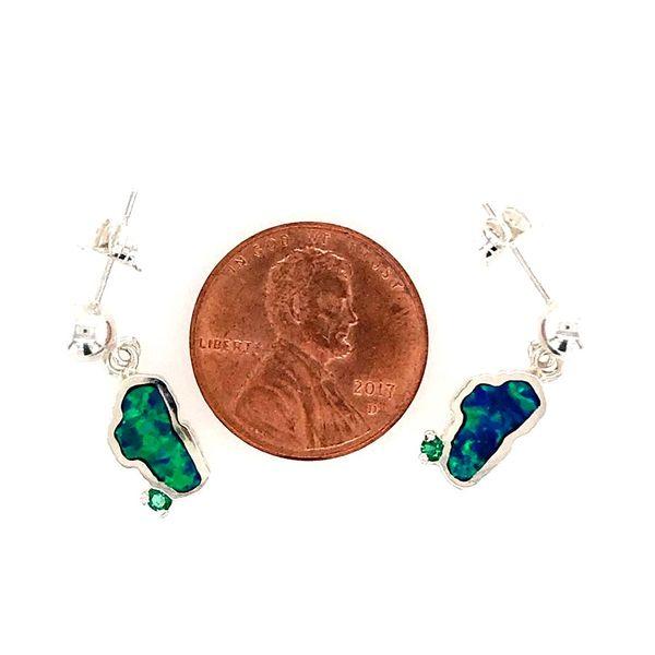 Small Silver Opal Lake Tahoe Post Drop Earrings with Emerald Image 2 Bluestone Jewelry Tahoe City, CA