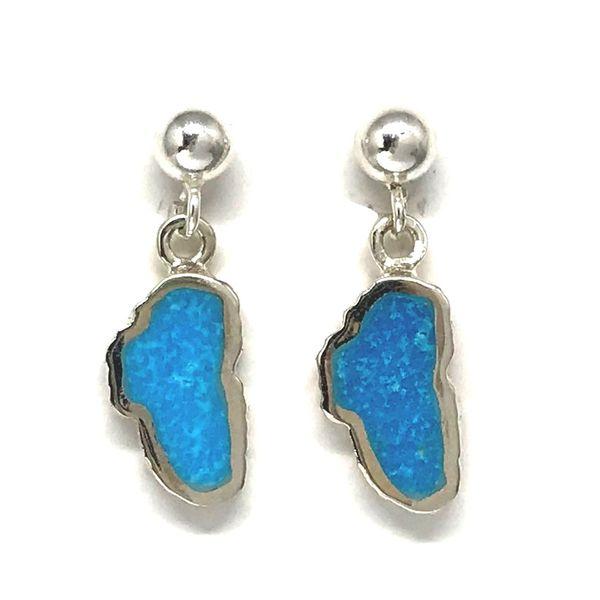 Small Silver Turquoise Lake Tahoe Post Drop Earrings Bluestone Jewelry Tahoe City, CA