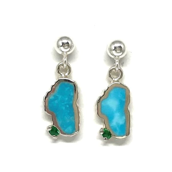 Small Silver Turquoise Lake Tahoe Post Drop Earrings with Emeralds Bluestone Jewelry Tahoe City, CA