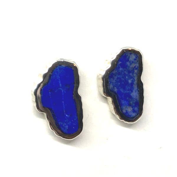 Small 14kt White Gold Lapis Lake Tahoe Stud Earrings Bluestone Jewelry Tahoe City, CA