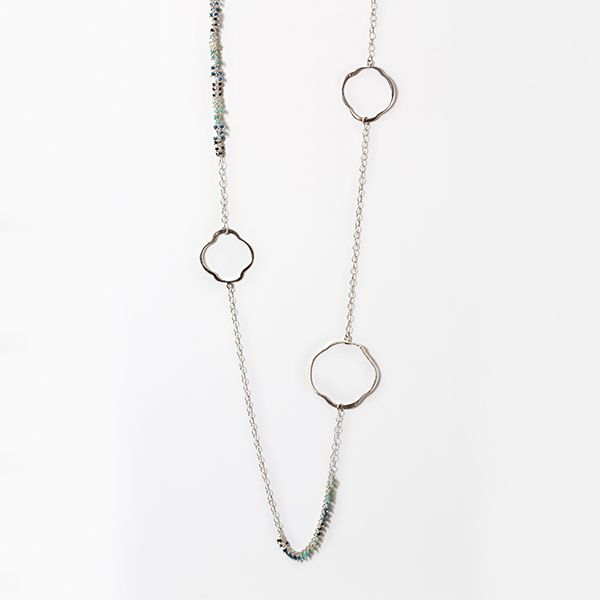 Handmade Sterling Silver Ombre Bead with Quatrefoil Link Long Necklace  Brummitt Jewelry Design Studio LLC Raleigh, NC