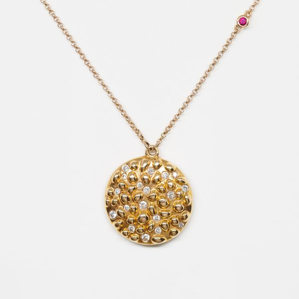 18k Rose Gold Diamond Pendant with Ruby Accent on Chain Brummitt Jewelry Design Studio LLC Raleigh, NC