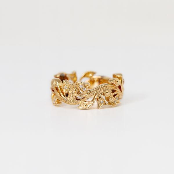 18k Yellow Gold Wide Flower & Vine Design Band with Diamonds  Brummitt Jewelry Design Studio LLC Raleigh, NC
