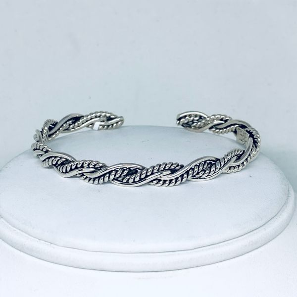 Handmade Mexican Artisan Sterling Silver Polished & Cable Braided Cuff Bracelet Brummitt Jewelry Design Studio LLC Raleigh, NC