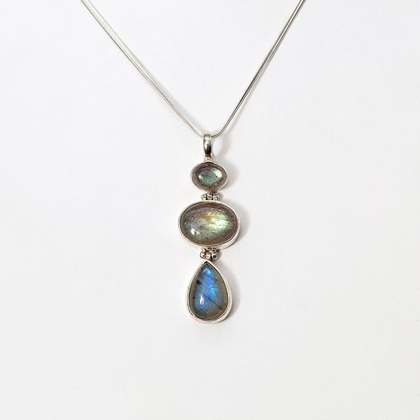 Handmade Taxco 3 Stone Labradorite Pendant and Chain Brummitt Jewelry Design Studio LLC Raleigh, NC