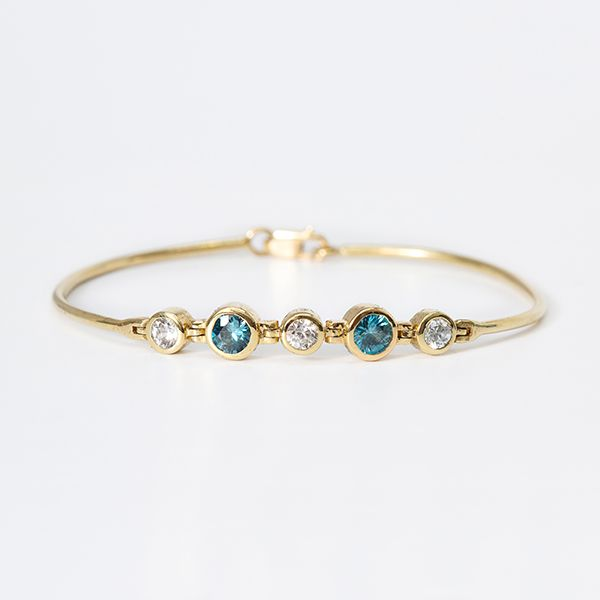 "Custom 18kyg ""Cadence""series Bracelet Blue Zircon & Natural White Zircon Brummitt Jewelry Design Studio LLC Raleigh, NC"