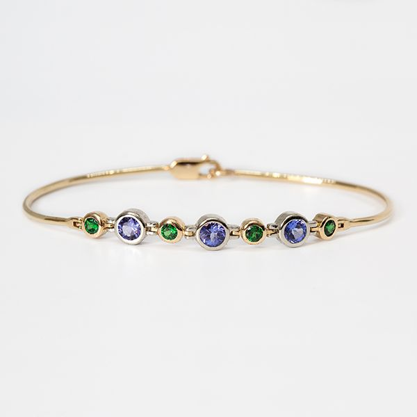 "Custom 14k Two tone ""Cadence""series Bracelet Tanzanite & Tsavorite Garnet  Brummitt Jewelry Design Studio LLC Raleigh, NC"