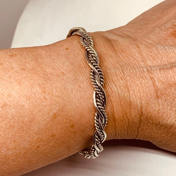 Handmade Mexican Artisan Sterling Silver Polished & Cable Braided Cuff Bracelet Image 2 Brummitt Jewelry Design Studio LLC Raleigh, NC