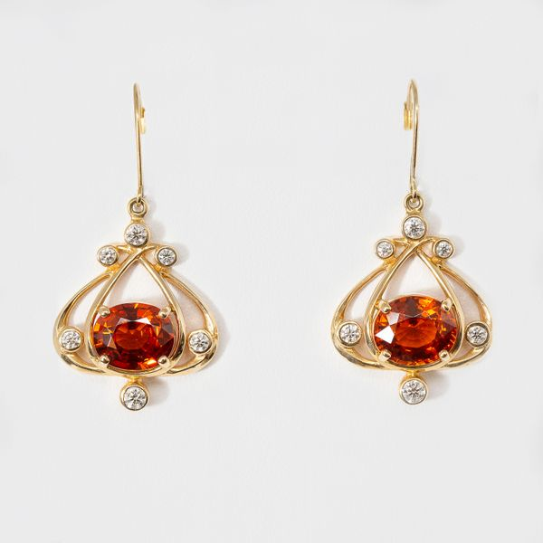 Custom 14k yellow Gold Charleston Gates Spessertite Garnet & Diamond Earrings  Brummitt Jewelry Design Studio LLC Raleigh, NC
