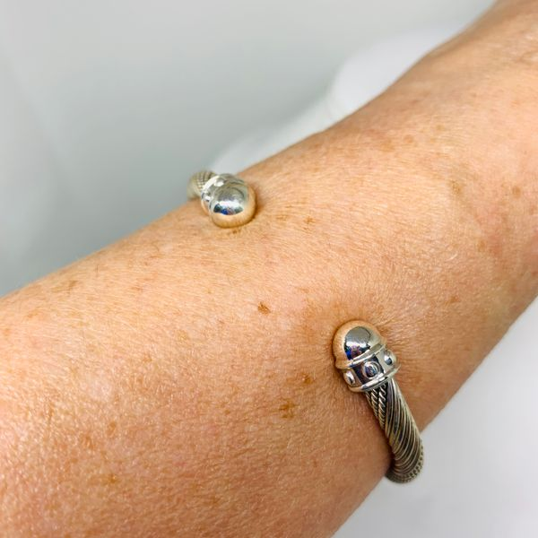 Handmade in Taxco Mexico Artisan Sterling Cable Cuff Image 2 Brummitt Jewelry Design Studio LLC Raleigh, NC