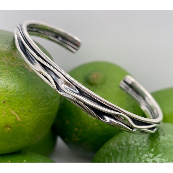 Handmade in Taxco Sterling Silver Oxidized Branch Design Cuff Bracelet Image 2 Brummitt Jewelry Design Studio LLC Raleigh, NC