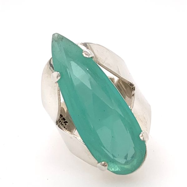 Handmade and Hand Cut Sterling Silver Chalcedony Ring from Taxco Mexico Brummitt Jewelry Design Studio LLC Raleigh, NC