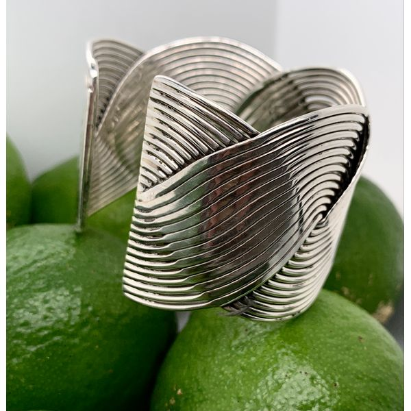 Made in Taxco Sterling Silver Intertwined Wave Cuff Bracelet Image 2 Brummitt Jewelry Design Studio LLC Raleigh, NC