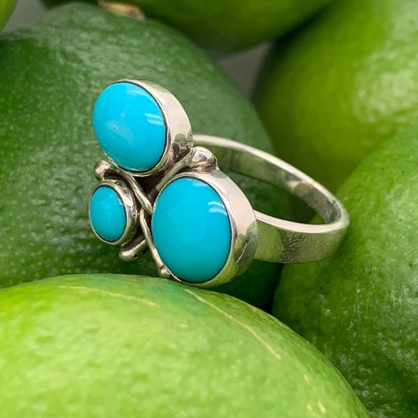 Handmade in Taxco Mexico Artisan Turquoise Sterling Silver Ring Image 2 Brummitt Jewelry Design Studio LLC Raleigh, NC