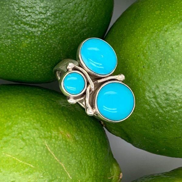 Handmade in Taxco Mexico Artisan Turquoise Sterling Silver Ring Brummitt Jewelry Design Studio LLC Raleigh, NC