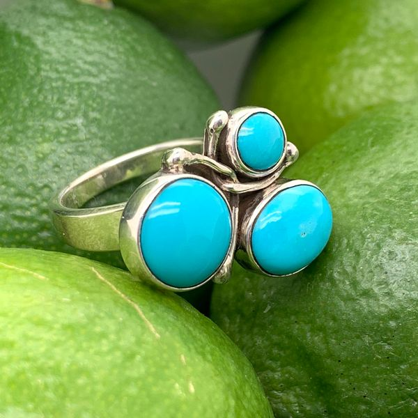 Handmade in Taxco Mexico Artisan Turquoise Sterling Silver Ring Image 4 Brummitt Jewelry Design Studio LLC Raleigh, NC