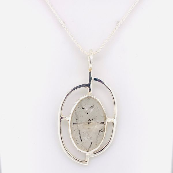Handmade Sterling Silver Oval Tourmalated Quartz Pendant Only Brummitt Jewelry Design Studio LLC Raleigh, NC