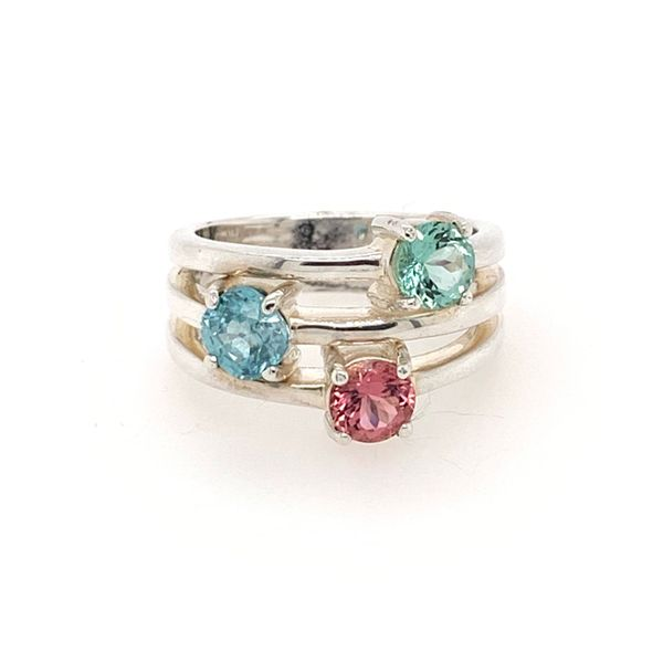 3 x Colored Gems Silver Ring with Two Tourmalines and Blue Zircon Brummitt Jewelry Design Studio LLC Raleigh, NC