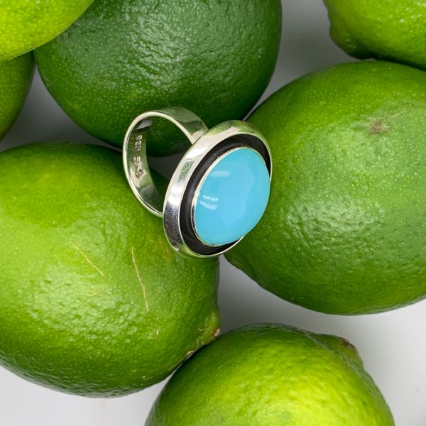 Handmade in Taxco by Artisan Guillermo Arregui Sterling Silver Blue Chalcedony Ring Image 2 Brummitt Jewelry Design Studio LLC Raleigh, NC