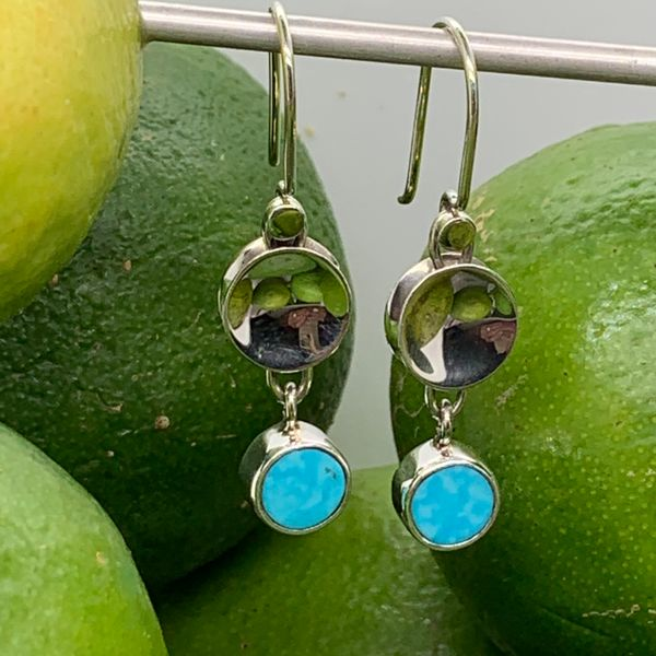 Handmade in Taxco by Artisan Guillermo Arregui Sterling Silver Graduated Concave Disc & Turquoise Drop Earrings Brummitt Jewelry Design Studio LLC Raleigh, NC