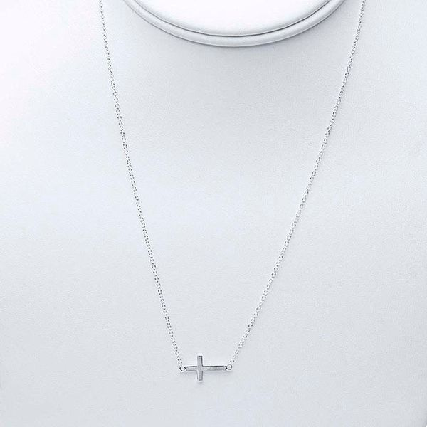 Sterling Silver Sideways Cross Necklace Image 2 Brummitt Jewelry Design Studio LLC Raleigh, NC