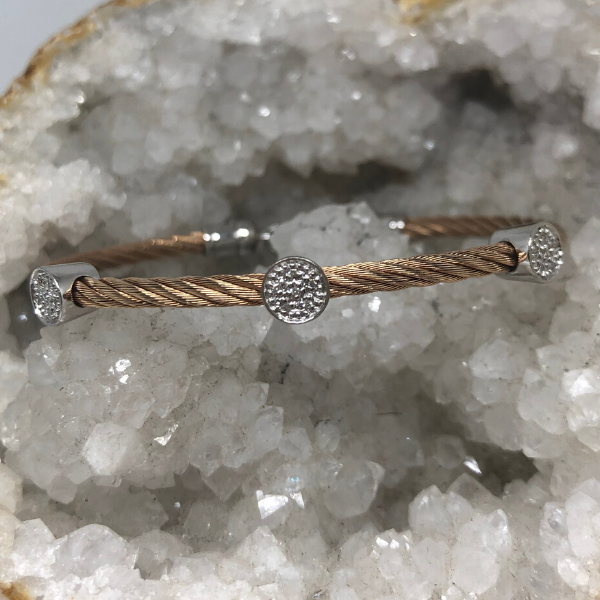 Stainless Steel Pave Diamond Circles Bracelets, Set of 4 Image 4 Brummitt Jewelry Design Studio LLC Raleigh, NC