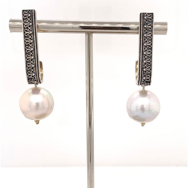 Silver Handmade 14mm Pearl ANTONIO ESCORCIA Earrings Brummitt Jewelry Design Studio LLC Raleigh, NC