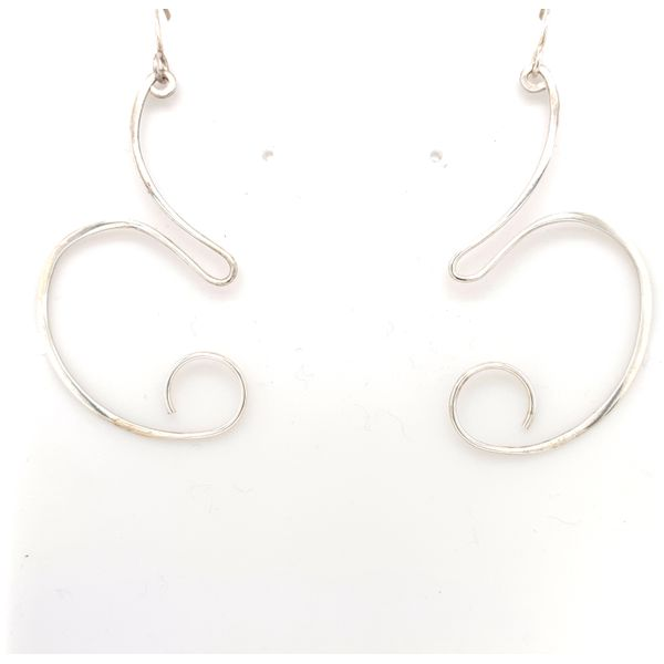 Handmade Taxco Sterling Silver Modern Squiggle Drop Earrings Brummitt Jewelry Design Studio LLC Raleigh, NC