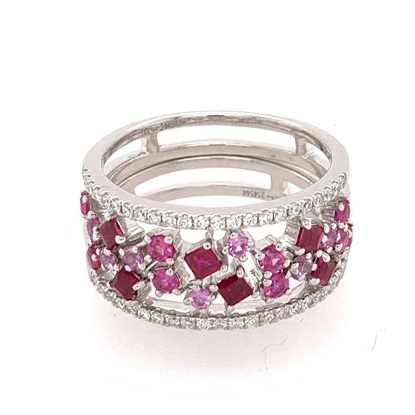 Uneek  Diamond, Ruby & Pink Sapphire Fashion Ring, in 14K White Gold