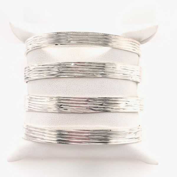 Handmade Sterling Silver Textured Four Line Statement Cuff Image 2 Brummitt Jewelry Design Studio LLC Raleigh, NC